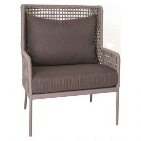 Stern GRETA Lounge-Sessel Aluminium champagner mit Synthetikfaser ecru inkl. Sitz- Rückenkissen rehbraun, 100% Polyacryl mit Reißverschluss