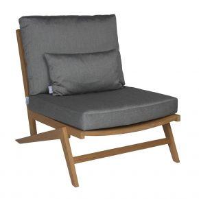 Stern JACKIE Lounge-Sessel Teak natur mit Sitz- und Rückenkissen seidengrau, 100% Polyacryl mit Reißverschluss
