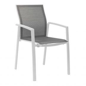 Stern KARI Stapelsessel Aluminium weiß mit Textilenbezug silber und Aluminiumarmlehnen weiß