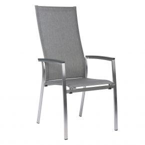 Stern MIKA Stapelsessel Edelstahl mit Textilenbezug Leinen grau und Aluarmlehnen anthrazit, extra hohe Rückenlehne