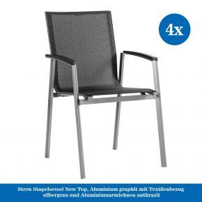 4x Stern Stapelsessel New Top, Aluminium graphit mit Textilenbezug silbergrau und Aluminiumarmlehnen anthrazit
