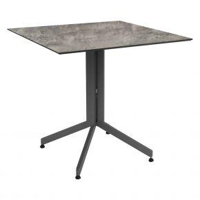 Camillo Tisch abklappbar graphit mit Stern Silverstar 2.0 Tischplatte 80x80 cm, Dekor Zement