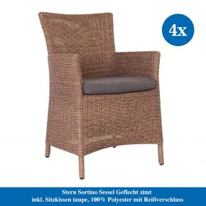 Stern Gartenmöbel Set Stern Sortino Sessel Geflecht zimt inkl. Sitzkissen rehbraun, 100% Polyacryl mit Reißverschluss
