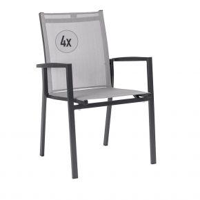 4x Stern Stapelsessel New Levanto, Aluminium anthrazit mit Textilenbezug silber und Aluminiumarmlehnen anthrazit