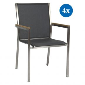 4x Stern Stapelsessel Polaris Edelstahl mit Bezug Textilen silbergrau und Teakarmlehnen FSC®-zertifiziert