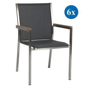 6x Stern Stapelsessel Polaris Edelstahl mit Bezug Textilen silbergrau und Teakarmlehnen FSC®-zertifiziert