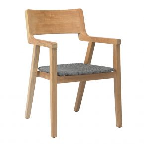 Stern TAJA Sessel Teakholz mit Synthetikfaser steingrau und Teakarmlehnen