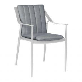 Stern VANDA Sessel Aluminium weiß mit Auflage seidengrau aus 100% Polyacryl