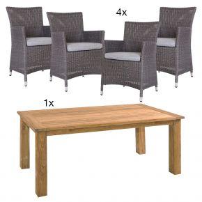 Komplettset Tisch Oskar 180x90 cm mit 4x Geflechtsessel Sortino Geflecht basaltgrau