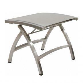Zebra Hocker Pontiac, Edelstahlgestell und Sitzfläche aus Twitchell-TEXTILENE® seidengrau