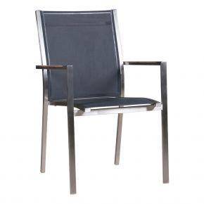 Zebra Stapelsessel One carbon grey, Gestell Edelstahl gebürstet und Textilen mit Teakarmlehnen
