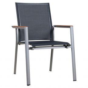 Zebra Stapelsessel Fly Aluminium palladium und Textilen carbon grey, Teakarmlehnen