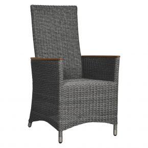 ZEBRA Sessel Status Relax Geflecht grey-black, Alu-Rahmen und Teakarmlehnen, verstellbare Rückenlehne