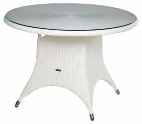 Zebra Tisch Hastings, Geflecht snowwhite und Alu-Rahmen mit Glasplatte