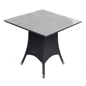 Zebra Tisch Mary Flachgeflecht quarz, Alu-Rahmen und Sicherheitsglasplatte, 70x70x72cm