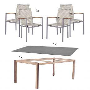 Zebra Tischgestell Corpus 180x100 cm mit Tischplatte Sela beton und 4x Stapelsessel Lucy