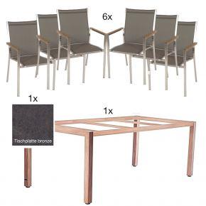 ZEBRA Tischgestell Corpus 210x100 cm bronze mit 6 Edelstahlstühlen Textilenbezug taupe und Teakarmlehnen