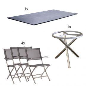 Zebra Tischgestell Mikado beton dunkel mit Edelstahlstühlen Carmel