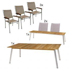 Zebra Linax Tisch, Bank mit Rückenlehnen und Pontiac Stühlen