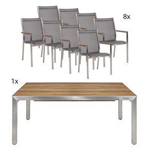 Ausziehtisch Kubex 220/ 340 mit 8 Edelstahlstühlen Textilene silbergrau und Teakarmlehnen