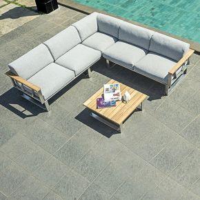 ZEBRA Belvedere Lounge Komplettset bestehend aus 3-Sitzer und 2-Sitzer Sofa (Armlehne links) und einem Kaffeetisch