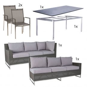 Dining Garnitur mit Stapelsessel Lavagna und Zebra Tisch Opus mit Sela Tischplatte im Dekor beton - Variante 2