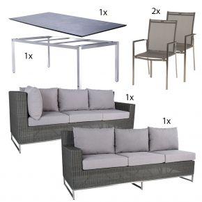 Dining Garnitur mit Stapelsessel Lavagna und Zebra Tisch Opus mit Sela Tischplatte im Dekor beton - Variante 1