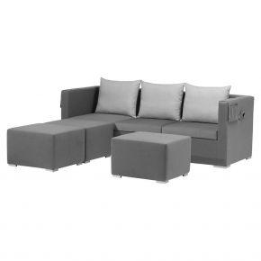 Zebra Jack Lounge Textil elegance grey inkl. Kissen und Schutzhülle, 3x Hocker, Rückenkissen silver grey