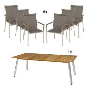 Linax 220x100 mi 6 Edelstahl Stühlen Textilen taupe und Teakarmlehnen