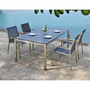 Komplettset Edelstahlgestell Opus,  Tischplatte beton und Gartenstühle One dark grey 6200-6432-6481