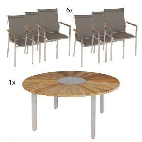 Zebra Tisch Onyx 160 cm mit 6 Edelstahl Stapelsessel Textilenbezug taupe und Teakarmlehnen
