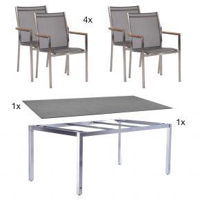 Zebra Opus Edelstahltischgestell 180x100 beton mit 4 Edelstahlstühlen 6-teilig