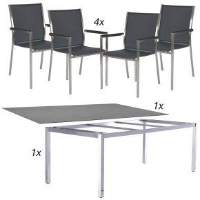 Komplettset Opus Edelstahlgestell 160x90 cm mit Sela Tischplatte beton dunkel und 4x Stapelsessel Polaris silbergrau