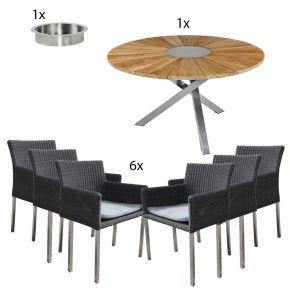 Zebra Tisch Oryx 135 cm, Sektkühler und 6 Stühle Kubex
