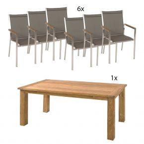 Zebra Oskar Tisch 180x90cm Old Teak und Edelstahl Stühle