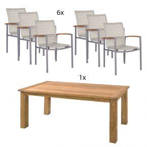 ZEBRA Tisch Oskar 180 x 90 mit taupe mit Gurtbespannung natur und Teakarmlehnen