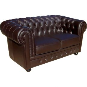 Lola Chesterfield Sessel Leder Sofa Echtleder dunkelbraun 2-Sitzer