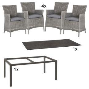 Stern Gartenmöbel Set Sortino 6-teilig Geflecht in Basaltgrau und Silverstar Tischplatte im Dekor Zement
