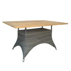 ZEBRA Tisch Status Gestell Geflecht grey-black und Teakholzplatte