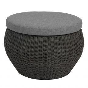 Stern ANNY Beistelltisch / Hocker Geflecht basaltgrau mit Glasplatte und Kissen seidengrau 100% Polyacryl mit Reißverschluss