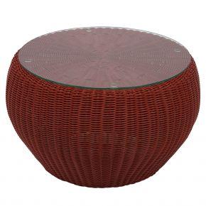 Stern ANNY Beistelltisch / Hocker Geflecht rot mit Glasplatte und Kissen cherry 100% Polyacryl mit Reißverschluss