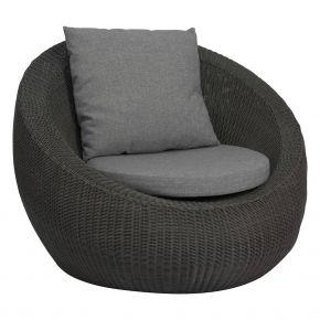Stern ANNY Lounge Sessel Geflecht basaltgrau mit Sitz- und Rückenkissen seidengrau 100% Polyacryl mit Reißverschluss