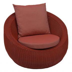 Stern ANNY Lounge Sessel Geflecht rot mit Sitz- und Rückenkissen cherry 100% Polyacryl mit Reißverschluss