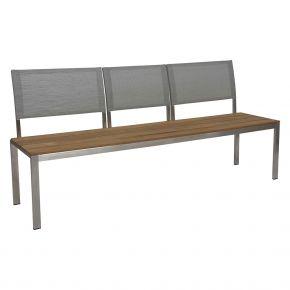 Stern ARIMA 3-Sitzer Bank Edelstahl mit Teakbelattung FSC -zertifiziert und 3 steckbare Rückenlehne aus Textilen silber