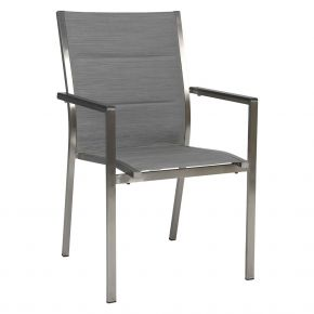 Stern CARDIFF Stapelsessel Edelstahl mit Textilenbezug silber gepolstert und Aluminiumarmlehnen anthrazit