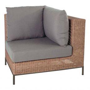 Stern Fontana Korpus Eckelement Geflecht zimt inkl. Sitz- und Rückenkissen rehbraun, 100% Polyacryl mit Untergestell Aluminium taupe
