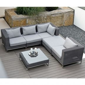 Stern Fontana Lounge-Set Gestell Edelstahl/ Geflecht basaltgrau