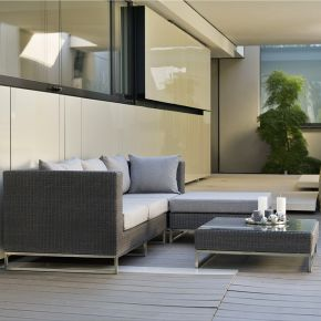 Stern Fontana Lounge-Set 2 Gestell Edelstahl / Geflecht basaltgrau