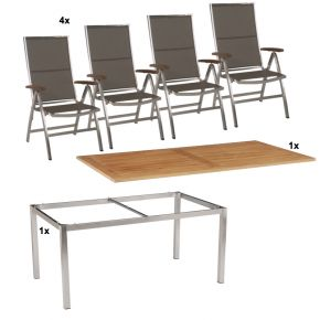 Stern Gartenmöbel Set Cardiff 6-teilig Klappsessel und Tischgestell aus Edelstahl mit Teak Tischplatte