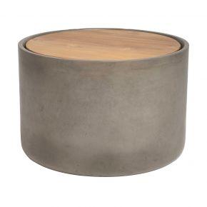 Stern Beistelltisch 45 x 30 cm Beton Zylinder rund mit Teakholzdeckel